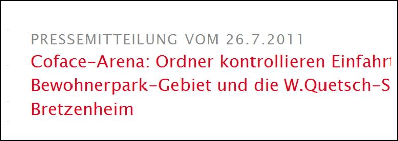 Überschrift einer Pressemeldung auf www.mainz.de
