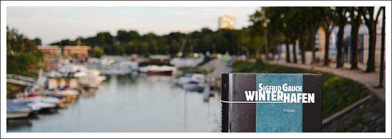 """Das Bild zeigt das Buch """"Winterhafen"""" am Mainzer Winterhafen"""