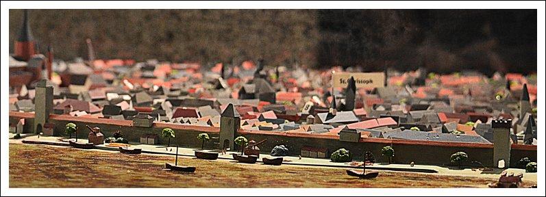 Das Bild zeigt einen Ausschnitt vom Modell des frühneuzeitlichen Mainz zur Zeit Gutenbergs