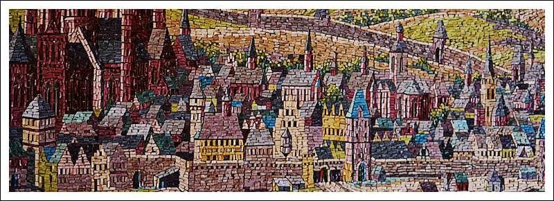 Das Bild zeigt ein Mosaik mit einer Mainzer Stadtansicht um 1600